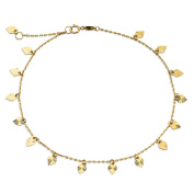 """10K Yellow Gold .50mm Diamond Cut Rolo Chain with 15 Diamond Cut Heart Charms Anklet Adjustable 9"""" to 10"""""""