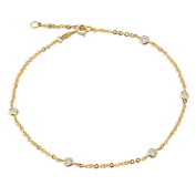 """10K Yellow Gold 1.8mm Diamond Cut Rolo Chain with 5 CZ Stone Charms Anklet Adjustable 9"""" to 10"""""""
