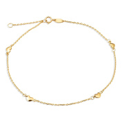 """10K Yellow Gold .50mm Diamond Cut Rolo Chain with 4 Heart Charms Anklet Adjustable 9"""" to 10"""""""