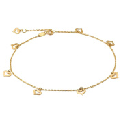 """10K Yellow Gold .50mm Diamond Cut Rolo Chain with 8 Heart Charms Anklet Adjustable 9"""" to 10"""""""