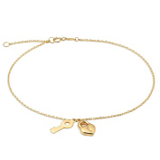 """10K Yellow Gold .50mm Diamond Cut Rolo Chain with a Lock and Key Charms Anklet Adjustable 9"""" to 10"""""""