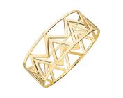 G & H Gold Plated Sterling Silver Chevron Geometic Bangle Bracelet