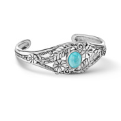 American West Sterling Silver Turquoise Floral Bracelet