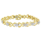 Yellow Plated Sterling Silver Floral Cluster Diamond Bracelet