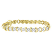 Yellow Plated Sterling Silver Diamond Cluster Link Bracelet