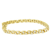 Yellow-Plated Sterling Silver Round-Cut Diamond Certified Tennis Bracelet
