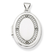 14K White Gold 21mm Oval Diamond with Texture Locket