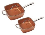 Copper Chef 20cm /28cm Deep Dish Pan 4 Pc Set