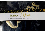 American Crafts Black and Gold CHEERS Deluxe Cocktail Beverage Paper Napkins 40 ct