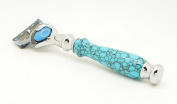 Orchid Isle~Fusion Flexball Proshield Shaving Razor FLEX 2~USA Handmade with~ Black Web-Blue Turquoise *True-Stone Composite Stone*634
