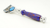 Orchid Isle~Fusion Flexball Proshield Shaving Razor FLEX 2~USA Handmade with~ Azurite Web *True-Stone Composite Stone*632