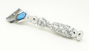 Orchid Isle~Fusion Flexball Proshield Shaving Razor FLEX 2~USA Handmade with~Black Web-White Buffalo Turquoise *True-Stone Composite Stone*630