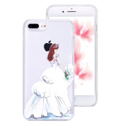 iPhone 7 Plus Clear Case,IKASEFU Creative Hard PC Back+Soft Frame Slim Fit White Dress Girl Flower Design Clear Silicone Case Cover for iPhone 7 Plus 14cm -#1
