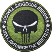 God Will Judge Our Enemies Punisher Patch Sewing Iron on Patch - Black and Green by Ranger Return