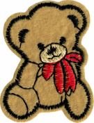 Cute Teddy Bear with Red Bow - Embroidered Iron On or Sew On Patch