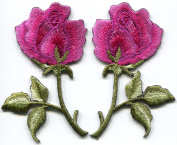Magenta pink roses pair flowers embroidered appliques iron-on patches new S-1281