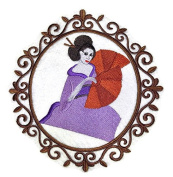 Amazing Custom Geisha Portraits [Geisha Cameo] [Rich Japanese Culture and Tradition] Embroidered Iron On/Sew patch [18cm x 19cm ] [Made in USA]