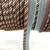 Piping cord 6mm 2 Different Colours Flanged Rope Trimmings Upholstery Piping Cushion Piping rope Price per 5 Yards Colour Rose Pink/Ivory/green