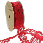 2.2cm Ribbon Hole Lace Trim Red 5 yards