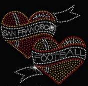 San Francisco Football Hearts Rhinestone Iron on Transfer