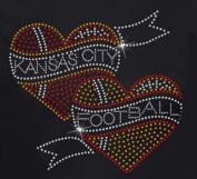 Kansas City Football 2 Hearts Rhinestone Iron on Transfer