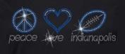 Indianapolis Football Peace and Love Rhinestone Iron on Transfer