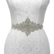Remedios Hand Sewn Silver Indian Silk Metal embroidery Luxury Sash Belt for Wedding Dress Gown Accessories