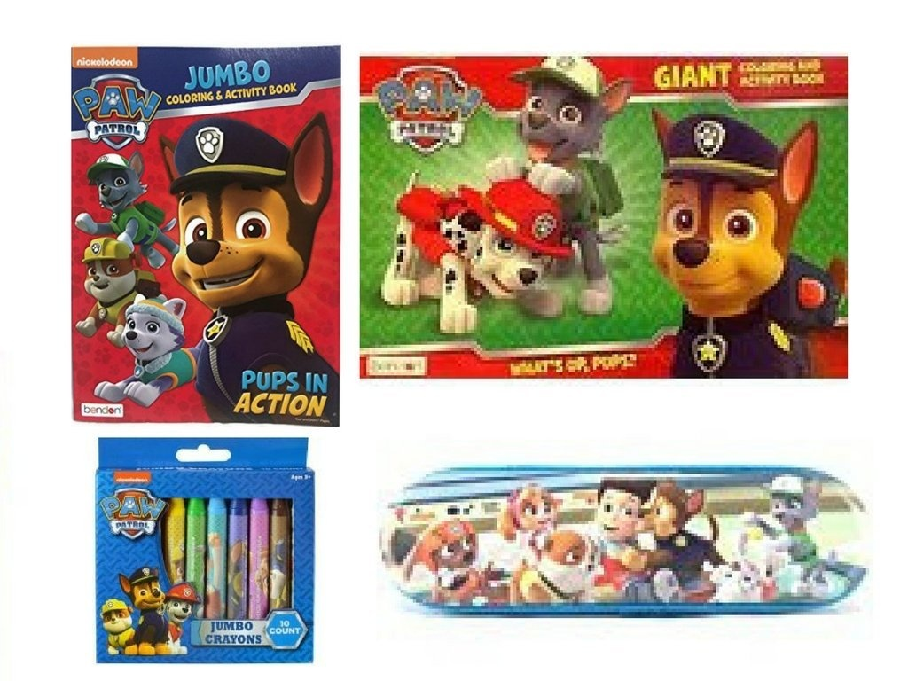 Nickelodeon Paw Patrol Giant Colouring Book Jumbo Colouring Book Jumbo Crayons Pencil Case