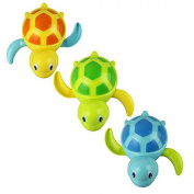 3 Pack Baby Bathing Bath Swimming Tub Pool Toy Cute Wind Up Turtles Floating Wind-Up Bath Water Toy Party Favours Bathtub for Kids Baby Boys Girls Blue Orange Green