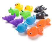 12 Pack Squirting Bath Toys 7.6cm Rubber Assorted Wildlife Animal Character Squirts Baby and Children Bath Toys in Assorted Vivid Colours 1 Dozen