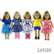 ZWSISU Super Value 5pcs 46cm American Girl Doll Clothes(not include doll and shoes)46cm Doll Set Fits American Girl Doll, Our Generation, Journey Girls Dolls