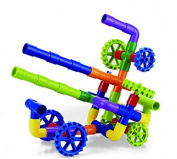 Tube Racer-Pipes & Wheels- Colourful Building Toys- Fun- Educational- Safe for Kids- Develops Motor Skills- Pipeworks Construction Blocks- STEM- Indoor/Outdoor Play-Tube Locks- Safe by Kidsland