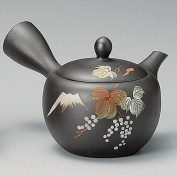 Yamakiikai Tokoname Black Kyusu(Japanese teapot) Japanese Leafs pattern with a strainer 290cc M542 from Japan
