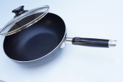 """Home N Kitchenware Collection 8"""" (20cm) Aluminium Wok Pan with Glass Lid, Heavy Gauge, Stir Fry Pan w/Glass Lid"""