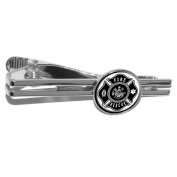 Firefighter Firemen Maltese Cross - Black Round Tie Bar Clip Clasp Tack - Silver