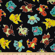Poke'mon Tossed Jet Fabric By The Yard