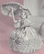 Vintage Crochet PATTERN to make - 20cm Doll Pin Cushion Dress Shawl Hat Umbrella. NOT a finished item. This is a pattern and/or instructions to make the item only.