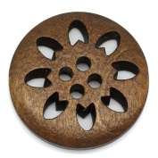 HOUSWEETY 50PCs Wood Buttons Sewing Snowflake Carved 4 Holes Brown 25mm Dia.