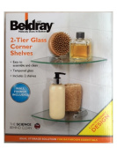 New Beldray Bathroom Bath Shower 2 Tier Glass Corner Shelves Shelf