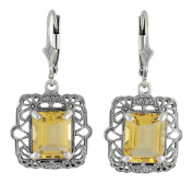 Antique Style Sterling Silver Filigree 4.5cttw Citrine Earrings