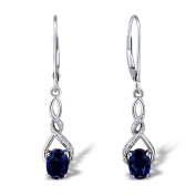 Lab Created Blue Sapphire Dangle Earrings Diamond Accents in Rhodium Plated Sterling Silver