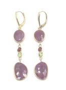 Sapphire,Garnet & Peridot Hanging Earrings,14K Yellow Leverbacks
