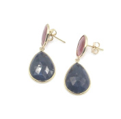 Pink & Blue Sapphire Hanging Earrings,14K Yellow Post & Push Backs