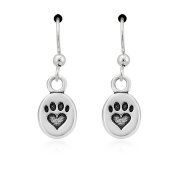 Sterling Silver Dainty Oval Paw Print Heart Dangle Earrings on French Wires