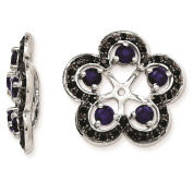 925 Sterling Silver Rhodium-plated Polished & Textured Black Sapphire & Created-Sapphire Earring Jacket