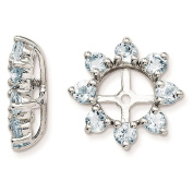 925 Sterling Silver Rhodium-plated Textured & Polished Aquamarine Earring Jacket
