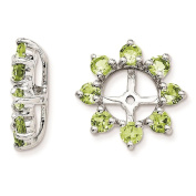 925 Sterling Silver Rhodium-plated Textured & Polished Peridot Earring Jacket