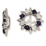 925 Sterling Silver Rhodium-plated Polished & Textured Created-Sapphire Earring Jacket