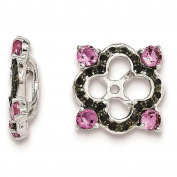 Sterling Silver Rhodium-plated Polished & Textured Black Sapphire & Created-Pink-Sapphire Earring Jacket