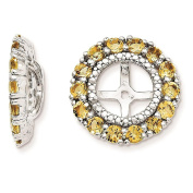 925 Sterling Silver Rhodium-plated Polished & Textured Citrine & Diamond Earring Jacket